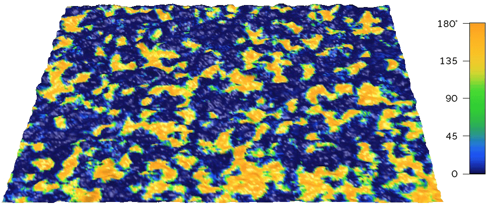 This DART PFM phase image shows differently poled ferroelectric domains in a silicon-doped hafnium oxide thin film across a 3 μm scan size.