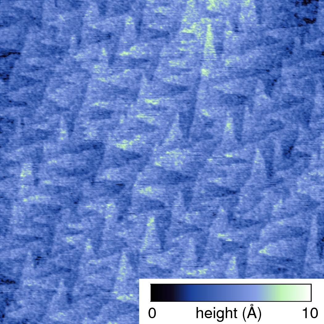 Ultra-low roughness epitaxial silicon wafer imaged on the Asylum Research Jupiter XR large-sample AFM. The roughness (Sa) for this 1 µm scan area was measured at only 0.902 Å.