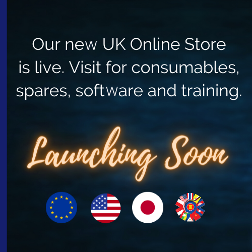 Our new UK Online store is now live. Visit for consumables, spares, software and training. Launching Soon: Europe, US, Japan and Asia.