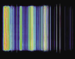 Fig. 3: Line spectrum of the emission of a gas-discharge XUV source measured by the Andor DX440-BN CCD camera