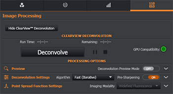 Fusion's Deconvolution module in the Image Processing Tab