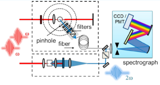 Figure 2 Schematic diagram of a setup for second-harmonic generation at colloidal interfaces. Not shown is the Ti:Sapphire based laser system for generation of tunable femtosecond laser pulses.