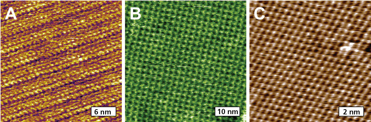 Previous AFM imaging of 2D molecular lattices