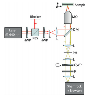 Figure 1: Setup of the Raman microspectroscope. The excitation laser passes a power control consisting of a half-wave plate (HWP) and polarizing beam splitter (PBS), is adjusted in its polarization with another HWP, expanded with a set of lenses (L), and reflected by a dichroic (DS) mirror through the microscope objective (MO) into the sample. The Raman scattered light is collected in backwards direction with the MO, transmitted through the DM, and passes a confocal setup consisting of two lenses (L) and a pinhole (PH). It is then sent through a polarization detection setup with quarter-wave plate (QWP) and polarizer (P) and focused by another lens (L) into the spectrometer.