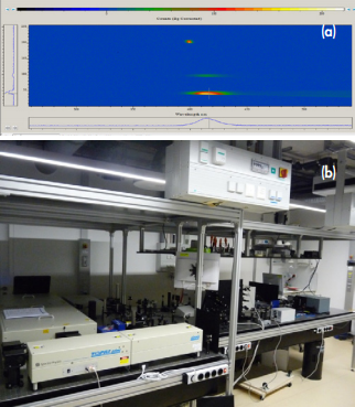 Figure 3 (a) Image of the CCD and spectra from three different sources (SHG reference and two photon luminescence from different sample positions). (b) Photograph of the femtosecond laser system for resonant SHG and the detector consisting of spectrograph and CCD cameras (right hand side).