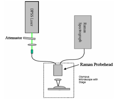 A schematic of the setup used for the NIR Raman experiments conducted using the Compact Echelle design from Andor Technology