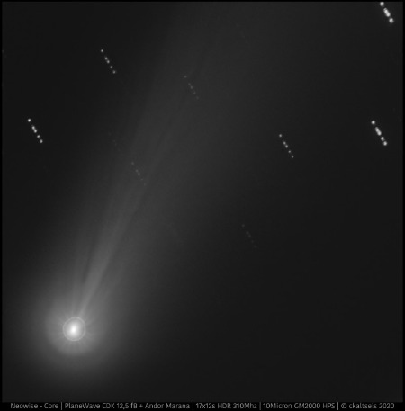 Comet Neowise shown by implementing 12 second exposure times