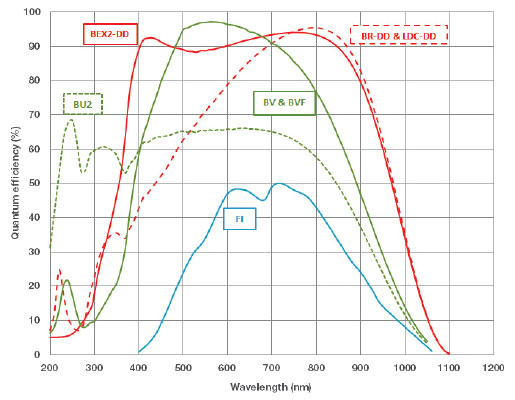 Typical QE performance at +25ºC of front-illuminated, back-illuminated visible-optimized, UV-enhanced silicon back-illuminated and back-illuminated deep-depletion CCDs with NIR AR-coating and broadband dual AR-coating