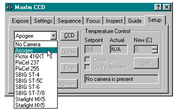 The MaxIm CCD window opens with the Setup tab active - select