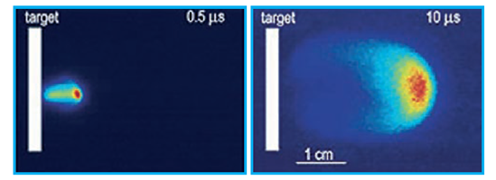 LIF images of an expanding plasma plume taken with an ICCD camera at two different delay times 0.5 µs and 10 µs