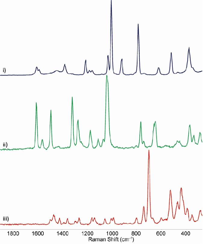 Sample Raman spectra taken in the NIR with a CW Nd-YAG laser at 1064 nm and the iDus InGaAs on a range of different organic and inorganic solid materials