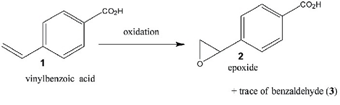 Schematic of the model reaction for demonstrating the technique. 4-Vinyl-benzoic acid is oxidised in water with H2O2 to form the reaction products, an epoxide and traces of the corresponding carboxybenzaldehyde