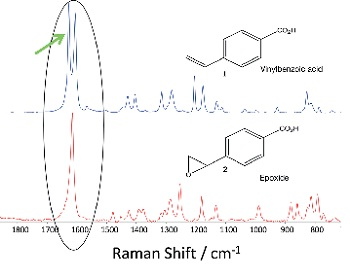 Comparison of the Raman 'fingerprints' for the 4-vinyl-benzoic acid and the epoxide product