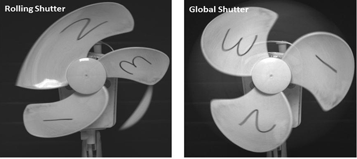 Image of a moving fan captured with rolling and global shutter modes