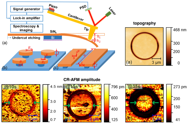 Schematic of AFM experimental setup and etched circular and rectangular structures; topography and CR-AFM amplitude images of circular samples with the indicated etching times.