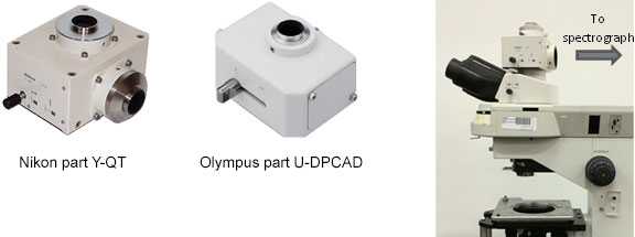 Examples of dual camera adapters for upright microscopes – Nikon part Y-QT and Olympus U-DPCAD