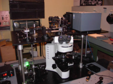 Example of a configuration with an upright microscope and coupling via a cage system