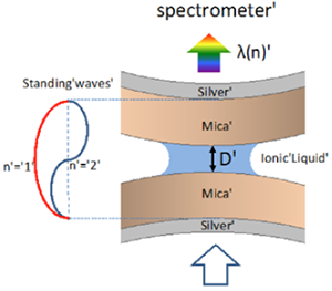 Figure 1: Silver-mica-liquid-mica-silver interferometer. White light is guided through a contact of two apposing transparent muscovite single crystal surfaces. Both surfaces are coated with a semi-transparent mirror at the backside (45 nm thickness), which serves as interferometer to measure the distance D between the apposing surfaces, as well as distance changes.