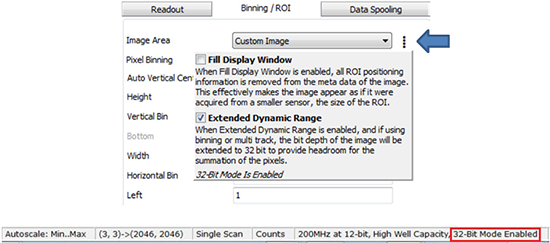 Extended dynamic range mode user interface in Andor Solis software
