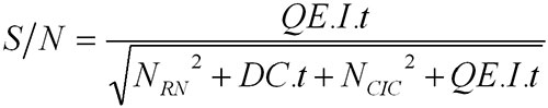 QE refers to the sensor quantum efficiency (%), I the incoming photon flux (photons/s), t the exposure time (s) and DC the dark current (e-/pix/s or e-/CCD column/s)